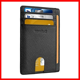 Buffway Slim Front Pocket RFID Blocking Leather Wallets