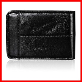 Mokzer  Slim Genuine Leather Thin Bifold Wallets for Men