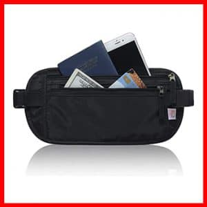 RFID Blocking Travel Wallet – Money Belt & Passport Holder for Women Men – Black