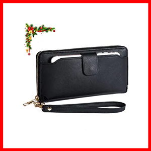 Women RFID Wristlet Wallet with Cell Phone Holder