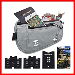 Zero Grid Money Belt w/RFID Blocking – Concealed Travel Wallet & Passport Holder