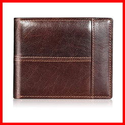Swallowmall Mens Wallet RFID Genuine Leather Bifold Wallets For Men