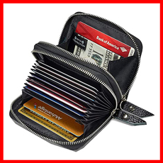KALMORE Zipper Card Leather RFID Women Wallet