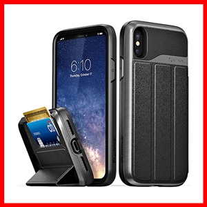 Vena iPhone Xs/X  Flip Leather Cover Card Slot Holder with Kickstand