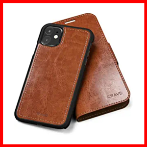 Crave iPhone 11 Leather Wallet Case, Vegan Leather