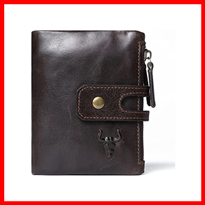 Wallet For Men With Zipper RFID Blocking Leather