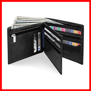 YOOMALL Men's Leather Bifold Wallet with Coin Pocket